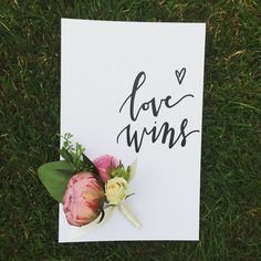 nice vancouver wedding Day 78/100 #lovewins - made this little boutonnière at @celsiafloral workshop today :) #the100dayproject #100daysofmaihandlettering #love #wedding #vancouvercalligrapher #moderncalligraphy #calligraphy #calligritype #design #florals  #vancouverwedding #vancouverweddingstationery #vancouverwedding