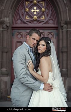 grey tuxedo, brunette bride, long curls, Hartford, Connecticut, Bride and Groom, wedding portrait, bridal portrait, bride, groom, veil, stapless dress, church door, bridal portrait, wedding photography