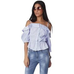 Blue stripe off the shoulder top with peplum (165 AED) via Polyvore featuring tops, off the shoulder ruffle top, striped off the shoulder top, blue off shoulder top, off the shoulder tops and blue top