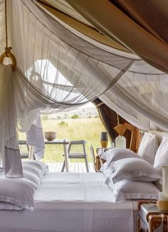 Singita Mara River Tented Camp has six bohemian-chic luxury tents, which are designed using solar power and recycled and natural materi. Camping Style, Camping Glamping, Luxury Camping, Camping Bedroom, Cabana, British Colonial Decor, Tent Living, Safari Decorations, Tent Design
