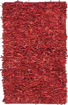 Safavieh LSG511D Leather Shag Red Power Loomed Shag and Flokati Rug