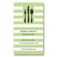 Elegant Personal Chef, Silverware, Restaurant Business Card. It's two-sided with no additional charge, and totally customizable!