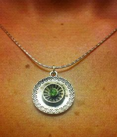 Sterling Silver Antique Green Gem Charm Necklace by OneSEC on Etsy, $9.00