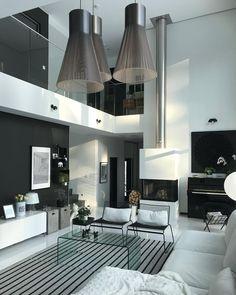 Ilmavan kevyt ja tyylikäs skandinaavinen sisustus olohuoneessa, jonka kruunaa suuri huonekorkeus. Home Living Room, Living Room Designs, Living Room Inspiration, Home Projects, Home Interior Design, Architecture Design, House Plans, New Homes, House Styles