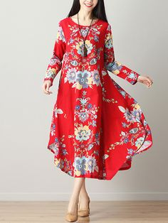 Round Neck Asymmetric Hem Printed Cotton/Linen Maxi Dress-Berrylook