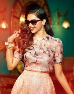 Digital printed Floral top with lace skirt- Sexy Deepika padukone