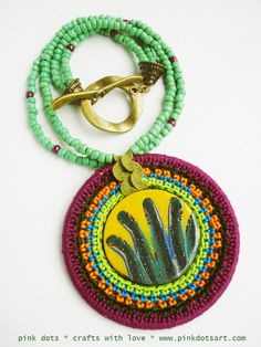 * polymer clay & crochet necklace *