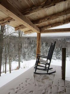 Winter Porch and Rocker at the Cabin. Winter Porch, Winter Cabin, Cozy Cabin, Snow Cabin, Cosy Winter, Winter White, Cabins And Cottages, Log Cabins, House Landscape