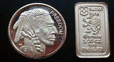1 Gram .999 Fine Buffalo Silver Round  + 1/20 oz Bullion Bank Silver Bullion Bar