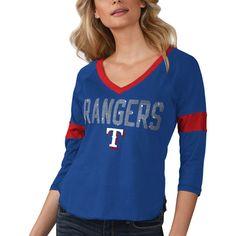 Texas Rangers Touch by Alyssa Milano Women s Ultimate Fan 3 4-Sleeve Raglan  V 231e1d75b
