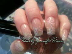 Clear glitter acrylic w/nail stamp