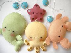 Felt pdf pattern four cute sea creatures octopus whale starfish and crab felt ornaments baby crib mobile baby crib mobile forest mobile animal mobile felt mobile quot; Baby Crib Mobile, Baby Cribs, Felt Crafts, Diy Crafts, Sewing Projects, Projects To Try, Diy Bebe, Felt Mobile, Felt Toys