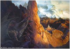 """""""""""Morgoth's Forces Before Gondolin"""" There is so much fantastic imagery in JRR Tolkien's """"The Silmarillion"""", and this artwork is inspired by the destruction of one of the last safe havens before the end of the First Age. """" http://alan-and-john.tumblr.com/"""