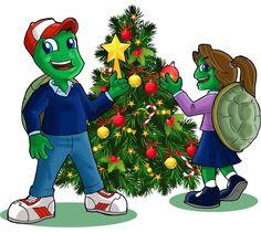 Tortugas caricaturas en árbol de navidad 🎄