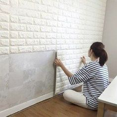 2.6' x 2.3' Peel and Stick 3D Wall Panels White Brick Wallpaper for TV Walls / Sofa Background Wall Decor