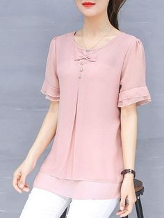 Buy Blouses & Shirts For Women at PopJulia. Online Shopping Solid Bow Casual Plus Size Frill Sleeve Chiffon Blouse, The Best Blouses & Shirts For Women.Pure Color Short Sleeve Chiffon Shirts For Women – TC Erin Karakoyunlu – Redes SocialesPure Co Winter Outfits Women, Casual Winter Outfits, Blouse Styles, Blouse Designs, Dress Designs, Plus Size Blouses, Plus Size Dresses, Women's Blouses, Cute Fashion