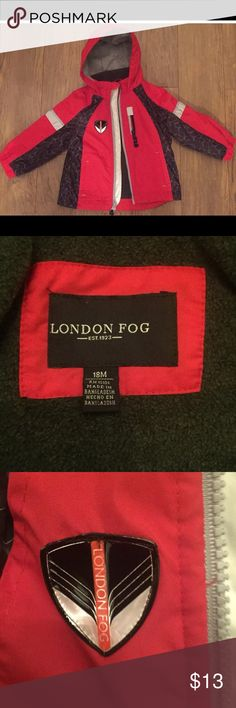 London log red and black toddler size 18 months Excellent condition and super cute. Your toddler will be styling in this London fog. Size 18 months London Fog Jackets & Coats