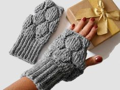 Your place to buy and sell all things handmade Fingerless Gloves Knitted, Crochet Gloves, Knit Mittens, Wrist Warmers, Hand Warmers, Knitting Yarn, Baby Knitting, Grey Gloves, Crochet Halter Tops