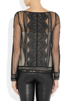 ALICE by Temperley|Lottie lace-appliquéd mesh top|NET-A-PORTER.COM