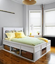 Build It or Buy It: Storage Bed- This Old House Maybe do this with my pallets. Extra storage under bed