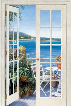French Patio Door open to Seaside Patio Peel & Stick Wall Mural