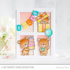 Beary Special Birthday Stamp Set and Die-namics, Gift Box Cover-Up Die-namics, Stitched Banner Alphabet Die-namics - Keeway Tsao  #mftstamps