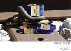 The NEW Cobalt Shark Bracelet! Available in the wide, double, & thin jigsaw styles. www.shopleighelena.com