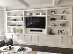 Built-In media center goals built in media center, tv built in, tv center, Built In Shelves Living Room, Living Room Wall Units, Built In Bookcase, Home Living Room, Living Room Designs, Living Room Decor, Living Room Without Fireplace, Bookshelves With Tv, Bookcases