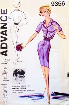 1960s Mad Men EDITH HEAD Slim Tailored Dress Day or Evening Pattern Advance 9356 Stylish Easy Shirt Dress Designed For Debbie Reynolds Bust 32 Vintage Sewing Pattern