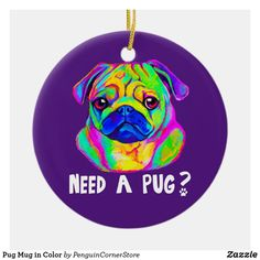 Pug Mug in Color Ceramic Ornament Reindeer Ornaments, Christmas Ornaments, Pug Christmas, Pug Mug, Pugs And Kisses, Black Pug, Cute Pugs, Holiday Traditions, Holiday Photos