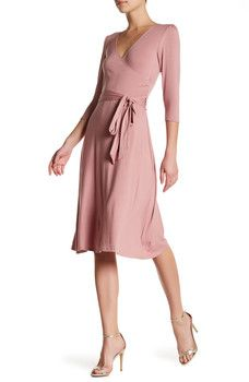 Bobeau - Knit Solid Wrap Dress