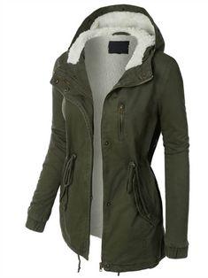 Womens Sherpa Lined Anorak Parka Jacket with Hoodie - Cool Fashion Trends Camo Jacket, Anorak Jacket, Sweater Jacket, Safari Jacket, Mode Outfits, Casual Outfits, Fashion Outfits, Outfits 2016, Night Outfits