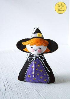 PDF Pattern - The Littlest Witch, Halloween Felt Ornament Pattern, Halloween Softie Pattern, Doll Pattern by sosaecaetano on Etsy https://www.etsy.com/listing/248099134/pdf-pattern-the-littlest-witch-halloween