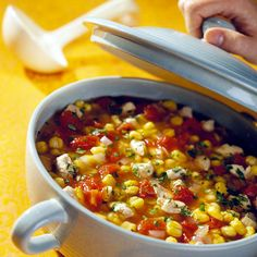 Crock Posole  Turkey or chicken adds filling protein to this hearty Southwestern-inspired soup of hominy, tomatoes, and herbs.