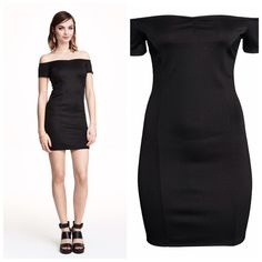 H&M Divided Scuba Look Black Dress New with tags. Short fitted dress. Scuba look fabric, open shoulders and short sleeves. SOLD OUT.  ✨Price is Firm unless is Bundle! Save $$$ when bundling with other items. NO TRADE Divided Dresses Mini