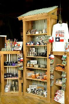 Corrugated metal & wood stands | Texas Souvenier Shop