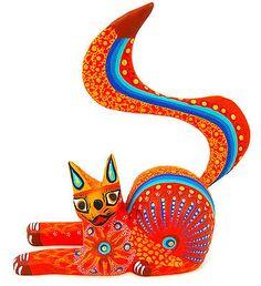 OAXACAN wood carving CAT by LUIS & MARGARITA SOSA - OAXACA  Alebrijes