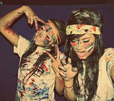 Summer. Where white and get paint and have a paint fight