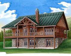 Architectural Designs Rustic House Plan 24110BG - covered decks on two levels. And a spa tub. Nice touch!