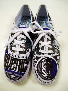 Dallas Mavericks hand-drawn shoes