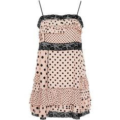 Marc by Marc Jacobs Polka Dot Slip Dress ($458) ❤ liked on Polyvore featuring dresses, nude lace dress, lace dress, pink ruffle dress, pink polka dot dress and polka dot dress