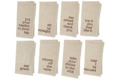 One Kings Lane - Table Talk - S/8 Assorted Manners Napkins, Tan