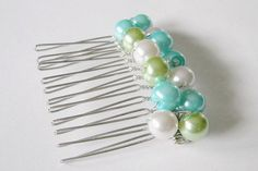 Lime Turquoise and White Haircomb by SeagullSmithJewelry on Etsy