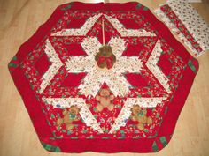 #Applique #Quilted #ChristmasTreeSkirt  #Teddybear by QuiltinWaYnE #handmade #quiltsy #treeskirt