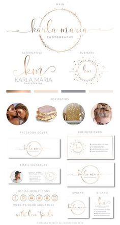 Rose Gold Heart Branding Kit Photography Logo Premade