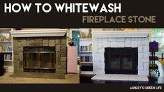 Ashley's Green Life: How to Whitewash Fireplace Stone Whitewash Stone Fireplace, Brass Fireplace Makeover, Diy Fireplace, Bohemian Apartment Decor, Rock Fireplaces, Electric Fireplace, Green Life, Messing