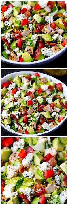 Chicken, Bacon & Avocado Chopped Salad | gimmesomeoven.com #chicken #avocado #salad