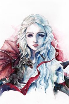 """""""Mother of Dragons"""" by Margaret Morales Watercolor Illustration, Watercolor Paintings, Watercolor Pencils, Art Sketches, Art Drawings, Make Up Art, Mother Of Dragons, Deviant Art, Watercolor Portraits"""