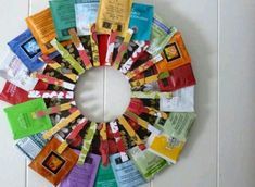 Love this...tea bag wreath!  @Abigail McBroom this makes me think of you. <3  Tea Bags | 50 Unexpected Wreaths You Can Make Out Of Anything