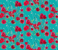 poppy fields in teal fabric by katarina on Spoonflower - custom fabric